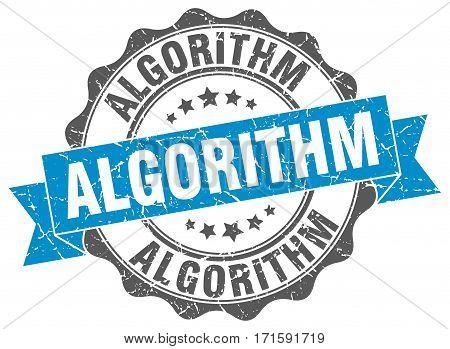 algorithm. stamp. sign. seal. round. retro. ribbon