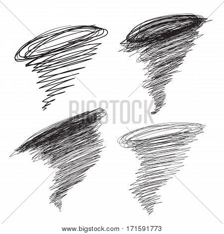 Vector hand-drawn hurricane illustrations set. Cyclone tornado for promotion, banners. Sketch typhoon in thick and thin lines.