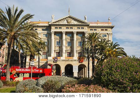 Barcelona Spain - January 08 2017: The Palace of Govern Militar de Barcelonaon the background of the urban landscape