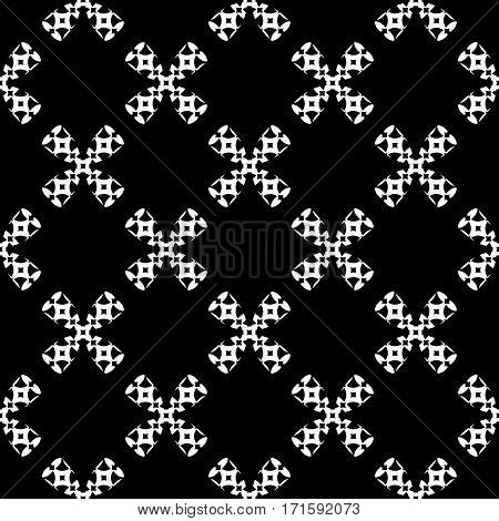 Vector monochrome seamless pattern, black & white ornate illustration. Geometric texture repeat abstract background, traditional folk motif. Dark design for prints, decoration, textile, furniture, cover, package, wrapping, cloth
