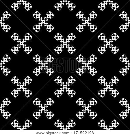 Vector monochrome seamless pattern, black & white ornate illustration. Geometric texture, repeat abstract background, traditional folk motif. Dark design for prints, decoration, textile, furniture, fabric, cloth