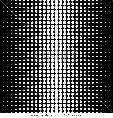 Vector seamless pattern, black & white halftone transition, different sized spots. Dynamic visual effect, modern simple endless monochrome background. Geometric texture for prints, decoration, textile, digital