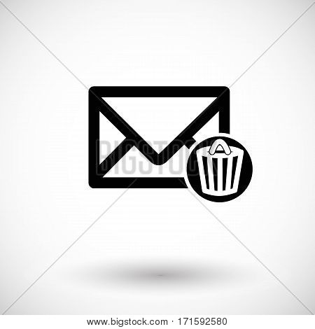 Mail icon envelope with trash can. Flat design vector illustration with round shadow