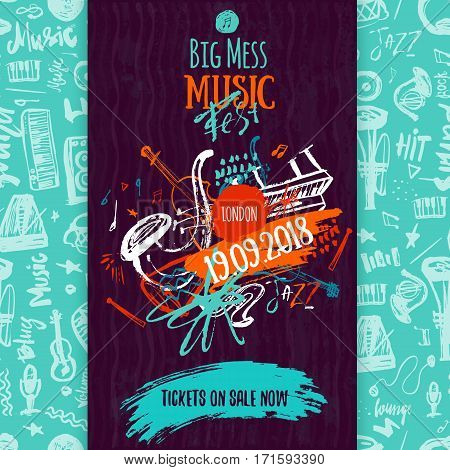 Jazz Music poster, ticket or program. Hand drawn illustration with brush strokes for jazz festival
