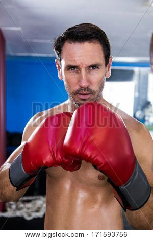 Portrait of serious male boxer in gym