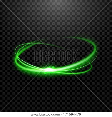 Special light effect isolated on transparent. Light glowing effect on dark.
