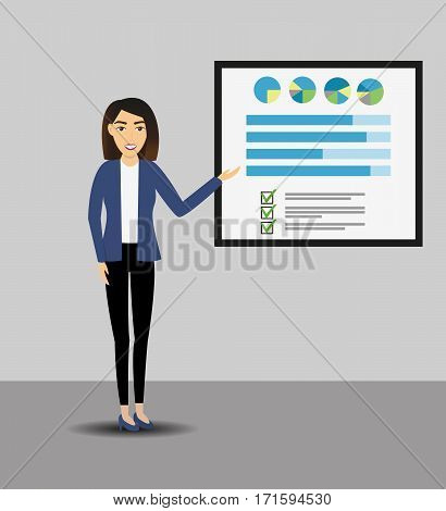 Businesswomen giving a presentation with banner. Infographic on office board. Business concept. Coaching and training. Flat style.