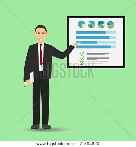 Businessman giving a presentation with banner. Infographic on office board. Business concept. Coaching and training. Flat style.