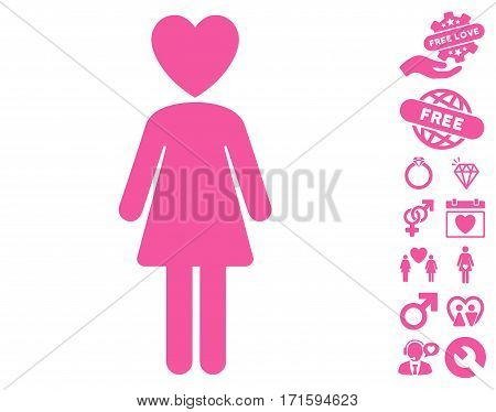 Mistress pictograph with bonus decoration icon set. Vector illustration style is flat iconic pink symbols on white background.