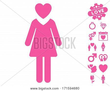 Mistress icon with bonus passion icon set. Vector illustration style is flat iconic pink symbols on white background.