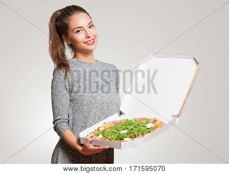 Young Brunette Having Italian Food.