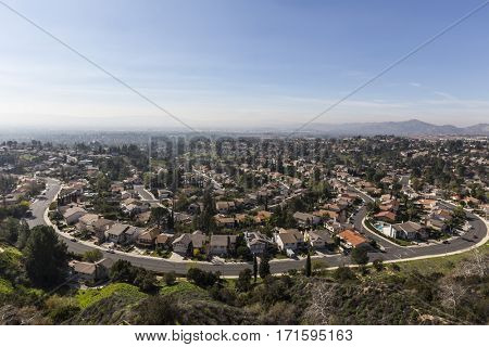 View of smoggy streets in the Porter Ranch neighborhood of Los Angeles, California.
