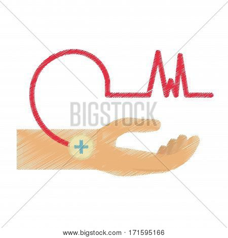 drawing hand male blood donor vector illustration eps 10