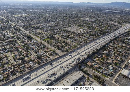 Aerial view of the Golden State 5 freeway in the sprawling San Fernando Valley of Los Angeles, California.