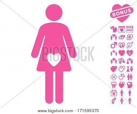 Mistress icon with bonus passion images. Vector illustration style is flat iconic pink symbols on white background.