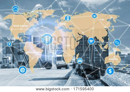 Smart technology concept with global logistics partnership for Logistics Import Export background