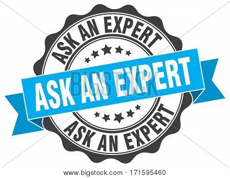 ask an expert. stamp. sign. seal. round. retro. ribbon