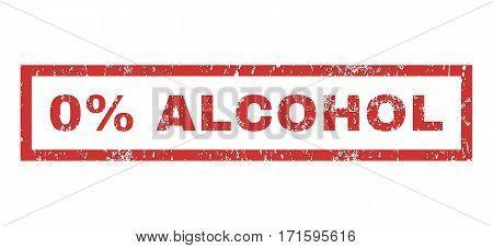 0 Percent Alcohol text rubber seal stamp watermark. Tag inside rectangular shape with grunge design and dust texture. Horizontal vector red ink sign on a white background.