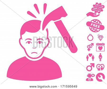 Murder With Hammer pictograph with bonus romantic pictures. Vector illustration style is flat iconic pink symbols on white background.