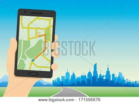 Navigation map on a smartphone on the background of the city.