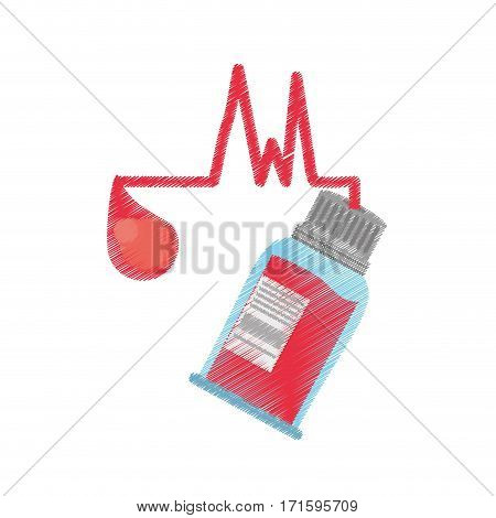 drawing bottle blood sample donation day vector illustration eps 10
