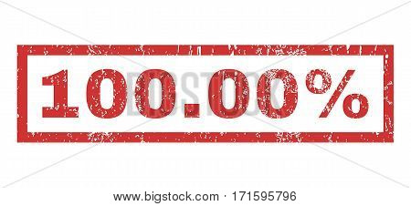 100.00 Percent text rubber seal stamp watermark. Caption inside rectangular banner with grunge design and dust texture. Horizontal vector red ink sticker on a white background.