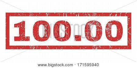 100.00 text rubber seal stamp watermark. Caption inside rectangular banner with grunge design and dust texture. Horizontal vector red ink sign on a white background.