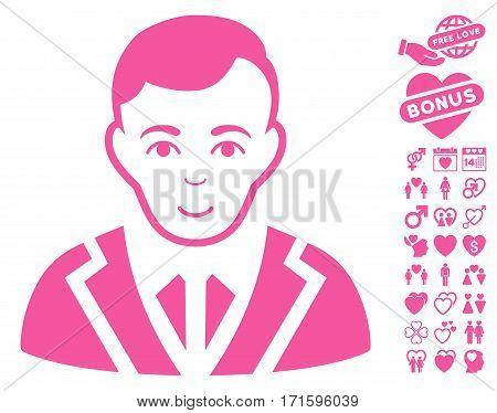 Noble icon with bonus decoration icon set. Vector illustration style is flat iconic pink symbols on white background.