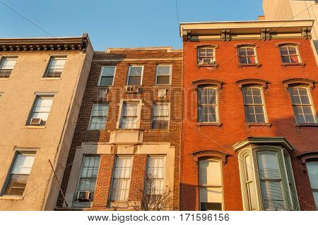 Colorful old townhouses on historic Chestnut street in Philadelphia Center City