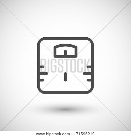 Bathroom weight scale line icon isolated on grey. Vector illustration