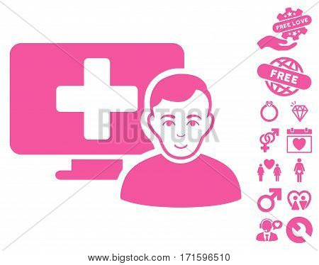 Online Medicine icon with bonus amour pictograph collection. Vector illustration style is flat iconic pink symbols on white background.