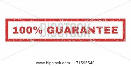 100 Percent Guarantee text rubber seal stamp watermark. Tag inside rectangular shape with grunge design and dirty texture. Horizontal vector red ink sign on a white background.