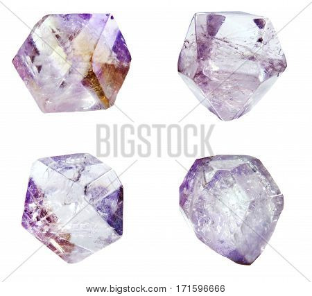 amethyst semigem geode crystals geological mineral isolated collage