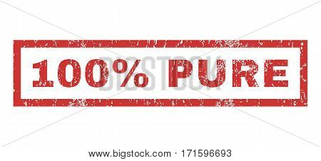 100 Percent Pure text rubber seal stamp watermark. Tag inside rectangular shape with grunge design and scratched texture. Horizontal vector red ink emblem on a white background.