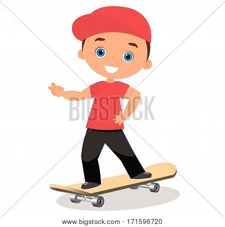 Young Man Skateboarding. Cartoon Boy Skater Riding A Skateboard And Doing A Skateboard Trick. Flat D