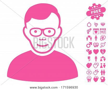 Pensioner icon with bonus decorative images. Vector illustration style is flat iconic pink symbols on white background.