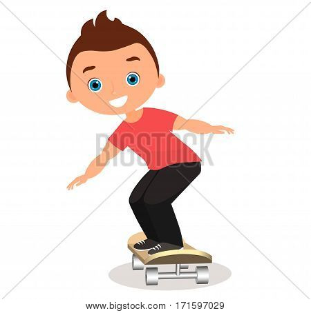 Young Man Skateboarding. Cartoon Boy Skater Riding A Skateboard And Doing A Skateboard Trick. Flat D