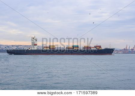 Cargo ship transportation on Sea - Istanbul - Turkey