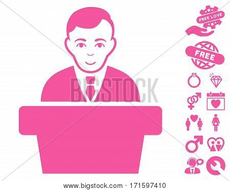 Politician pictograph with bonus love symbols. Vector illustration style is flat iconic pink symbols on white background.