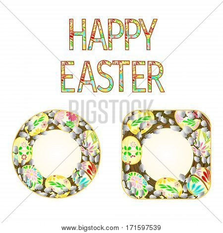 Banner  easter eggs with pussy willow vintage vector illustration