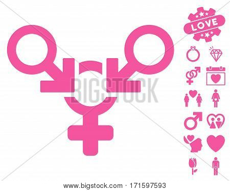 Polyandry icon with bonus passion icon set. Vector illustration style is flat iconic pink symbols on white background.