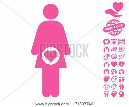 Pregnant Woman pictograph with bonus decorative pictograph collection. Vector illustration style is flat iconic pink symbols on white background.