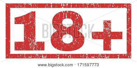 18 Plus text rubber seal stamp watermark. Tag inside rectangular banner with grunge design and scratched texture. Horizontal vector red ink emblem on a white background.