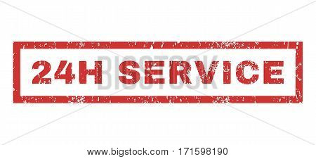 24H Service text rubber seal stamp watermark. Tag inside rectangular shape with grunge design and scratched texture. Horizontal vector red ink sign on a white background.