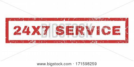 24X7 Service text rubber seal stamp watermark. Caption inside rectangular shape with grunge design and unclean texture. Horizontal vector red ink emblem on a white background.