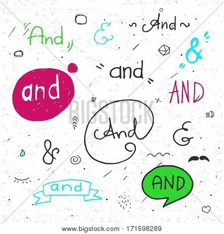 Hand lettered ampersands with doodle design elements. Color. With texture