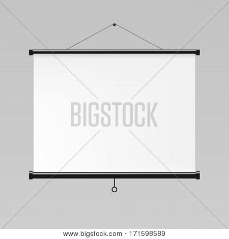 Blank realistic white projection screen, vector mockup
