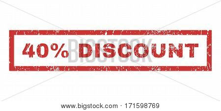40 Percent Discount text rubber seal stamp watermark. Caption inside rectangular banner with grunge design and dirty texture. Horizontal vector red ink emblem on a white background.