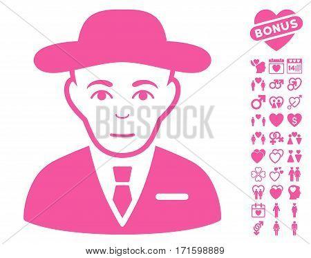 Secret Service Agent pictograph with bonus decoration icon set. Vector illustration style is flat iconic pink symbols on white background.