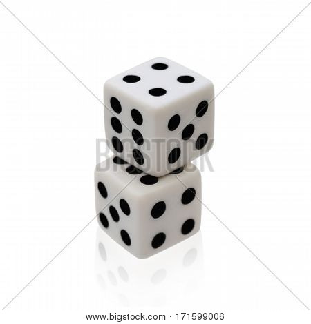 Dice game isolated on white background. Clipping path contour